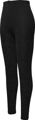 Peds Women's Soft and Warm Plush Fleece Legging, Black Cheetah Pattern