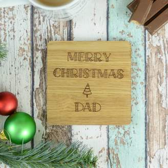 Chalk and Cheese Candles and Wax Melts Merry Christmas Dad Personalised Engraved Coaster