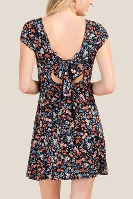 francesca's Ava Floral Back Tie Dress - Black
