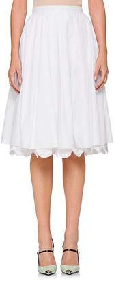 Prada Women's Scalloped Cotton Poplin Full Skirt