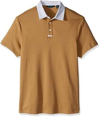 Perry Ellis Men's Stripe Collar Pima Cotton Jersey Polo Shirt