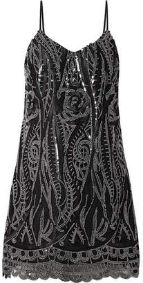 Anna Sui Embellished Tulle Mini Dress - Black