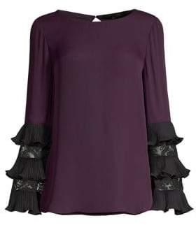 Kobi Halperin Shira Silk Lace-Insert Blouse