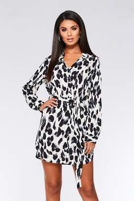 46fbedf078 Quiz Cream Black And Grey Leopard Print Shirt Dress