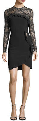 Elie Saab Long-Sleeve Ponte Cocktail Dress with Asymmetric Ruffle Detail