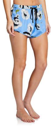 Violet & Wren Floral-Print Silk Sport Shorts