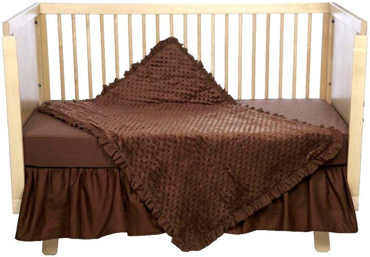 American Baby Company ABC Heavenly Soft 4 pc Minky Dot Crib Set - Chocolate
