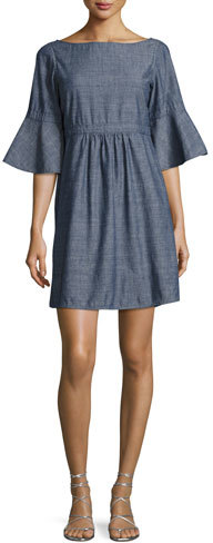 Burberry Michelle Chambray Flare-Sleeve Dress