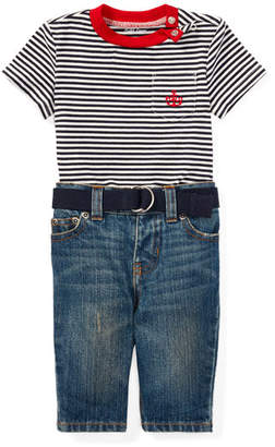 Ralph Lauren Striped Jersey Ringer Tee w/ Jeans & Belt, Size 6-24 Months