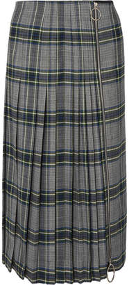 Cédric Charlier Zip-detailed Pleated Checked Woven Midi Skirt - Gray