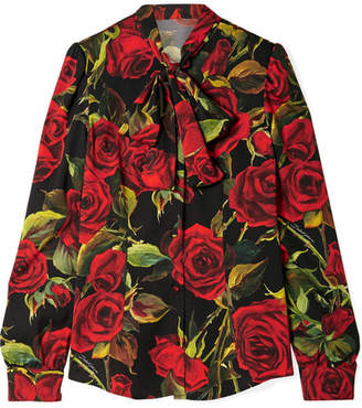 Dolce & Gabbana Pussy-bow Floral-print Silk-blend Blouse - Red