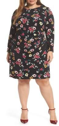Eliza J Long Sleeve Floral Print Dress (Plus Size)