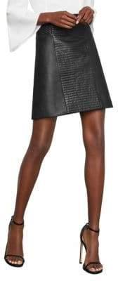BCBGMAXAZRIA Faux Leather Drape Skirt