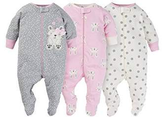 Gerber Onesies Baby Girl Sleep N Play Sleepers 3 Pack