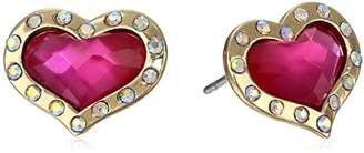 "Betsey Johnson A Day at the Zoo"" Crystal Heart Stud Earrings"