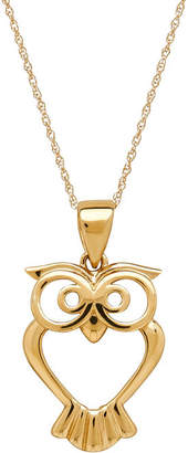 FINE JEWELRY Infinite Gold 14K Yellow Gold Owl Pendant Necklace