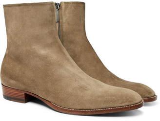 Saint Laurent Wyatt Brushed-Suede Boots