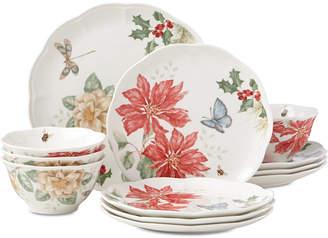 Lenox Butterfly Meadow Holiday 12-Piece Dinnerware Set Poinsettias and Jasmine Design