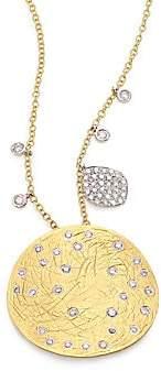 Meira T Women's Diamond, 14K Yellow & White Gold Disc Pendant Necklace