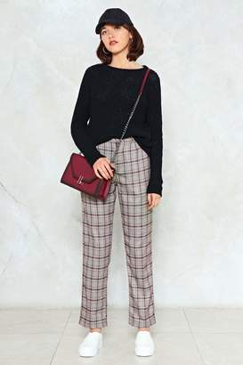 Nasty Gal Are You Sure About That Checkered High-Waisted Pant