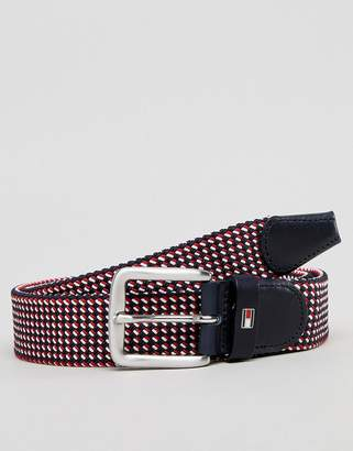 Tommy Hilfiger Multi Icon Flag Woven Belt 3.5cm In Red/White/Blue