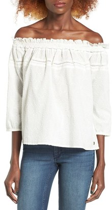 Women's Roxy Beach Fossil Off The Shoulder Eyelet Top $44.50 thestylecure.com