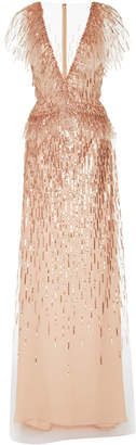 Monique Lhuillier Embellished Georgette Flutter Sleeve Gown