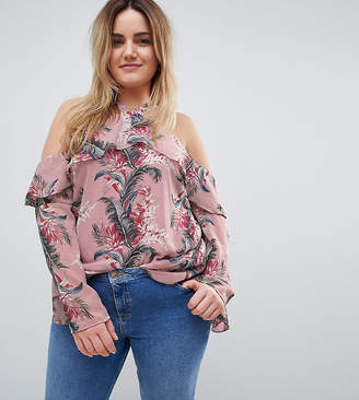 Glamorous Curve Off Shoulder Top With Ruffle Layer In Palm Floral