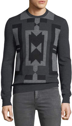 Neil Barrett Men's Deco Modernist Wool Sweater