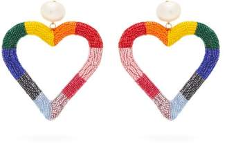 Carolina Herrera Beaded Heart Drop Earrings - Womens - Multi