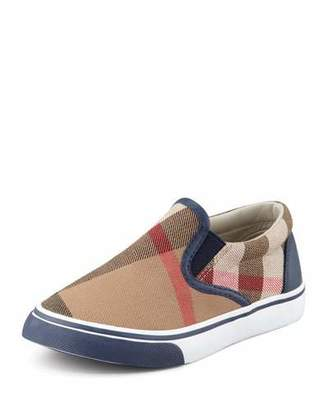 Burberry Navy Check Slip-On Sneaker, Toddler $150 thestylecure.com