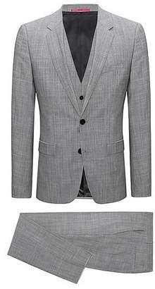HUGO BOSS Extra-slim-fit three-piece suit in melange virgin wool