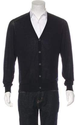 Lanvin Satin-Trimmed V-Neck Cardigan