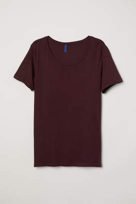 H&M T-shirt with Low-cut Neckline - Red