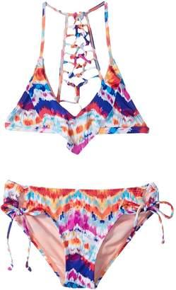 Hobie Kids Chevron and on Triangle Top Hipster Swim Set Girl's Swimwear Sets