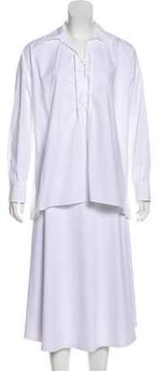 Nili Lotan Lace-Up Long Sleeve Top w/ Tags