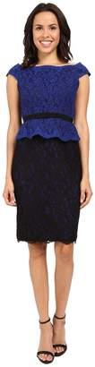 Adrianna Papell Bi-Color Lace Wrap Peplum Dress Women's Dress