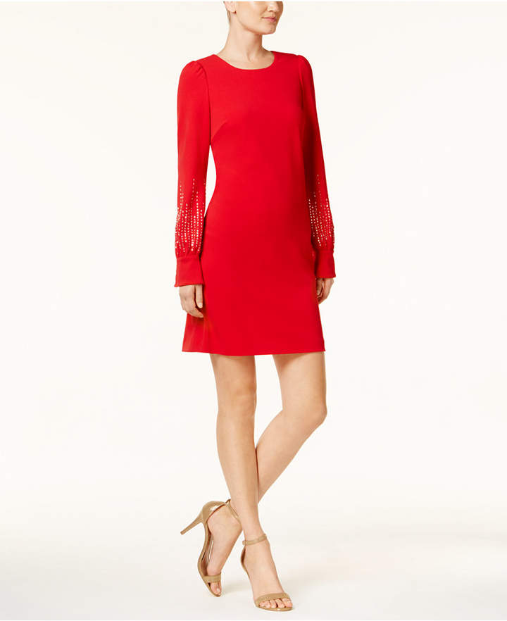 Calvin Klein Embellished-Sleeve Dress, Regular & Petite Sizes