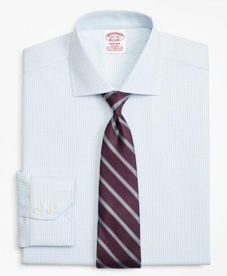 Brooks Brothers Stretch Madison Classic-Fit Dress Shirt, Non-Iron Royal Oxford Small Windowpane