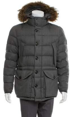 Moncler Fur-Trimmed Rethel Puffer Jacket grey Fur-Trimmed Rethel Puffer Jacket