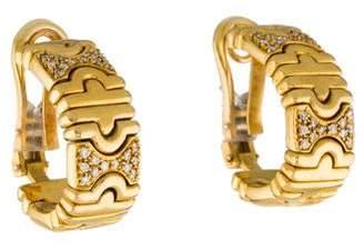 18K Diamond Greek Key Hoop Earrings