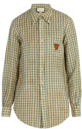 Gucci Embroidered Checked Linen Shirt - Mens - Blue