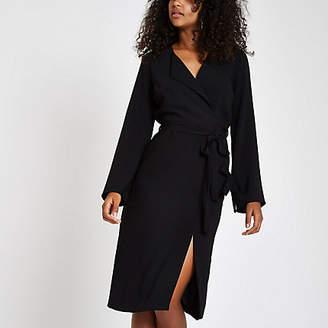 River Island Black tie waist midi dress