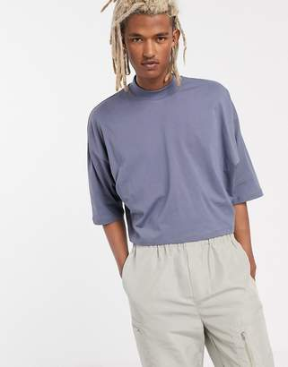 Asos Design DESIGN oversized crop t-shirt with mid sleeve and high neck in grey