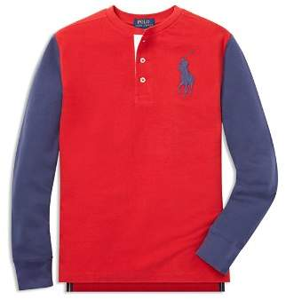 Ralph Lauren Boys' Mesh Henley Knit Top - Big Kid