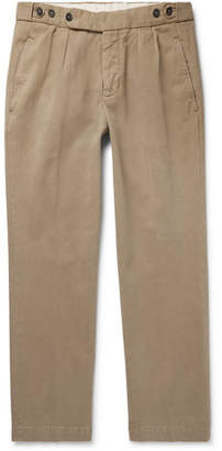 Massimo Alba Slim-fit Pleated Brushed Cotton-twill Trousers - Beige