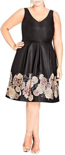 Magical Floral Satin Fit & Flare Dress