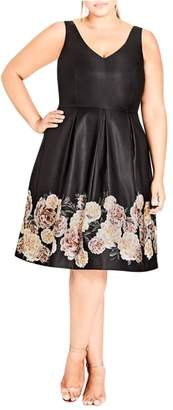 City Chic Magical Floral Satin Fit & Flare Dress