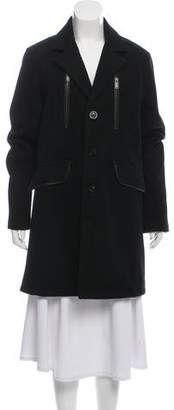Karl Lagerfeld Leather-Trimmed Wool Coat w/ Tags