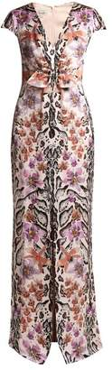 Temperley London Safari Print Silk Dress - Womens - White Multi
